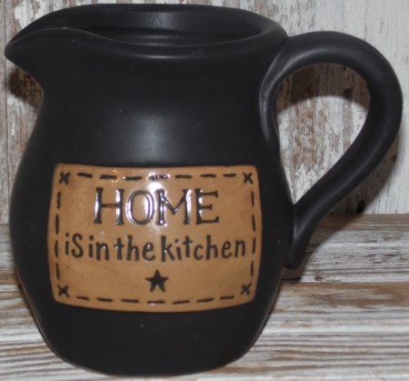 Home Is In the Kitchen Stoneware Pottery Pitcher