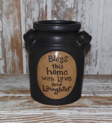 Bless This Home with Love and Laughter Black Stoneware crock