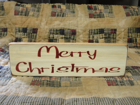 Merry Christmas Primitive Sign-Ivory with Barn Red lettering
