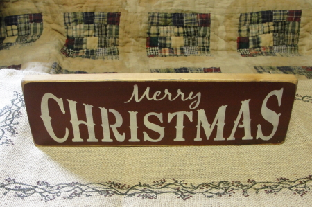 Merry Christmas in Burgundy Wood Sign