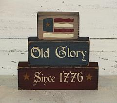 Olde Glory Since 1776 Primitive Wood Stacking Blocks