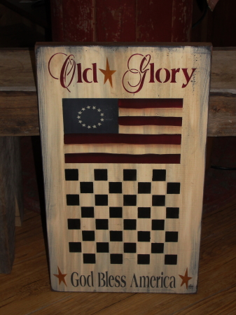 Olde Glory Primitive  Wood Checkerboard