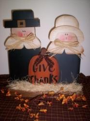 Primitive Wood Pilgrim Set with Wood Pumpkin