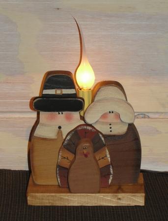 Primitive Wood Pilgrim Shelf Sitters with Light