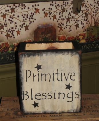 Primitive Blessings Rustic Wood Box