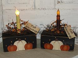 Primitive Fall Pumpkin Trio Autumn Block Light / Light styles optional