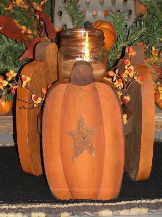 Primitive Pumpkin Trio Fall Wood Candle Holder