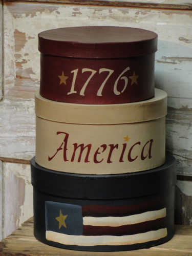 1776 America with Flag Round Stacking Boxes