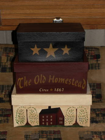 The Olde Homestead Primitive Rectangular Stacking Boxes - Set/3