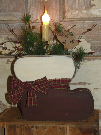 Primitive Wood Santa Boot Light