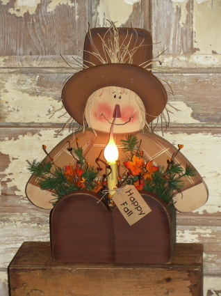 Primitive Wood Fall Scarecrow Sitting Box With LIght