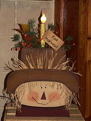 Primitive Fall Wood Scarecrow Head With Light Pine & Berries
