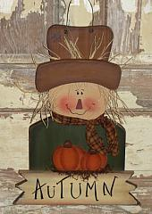 Primitive Wood Hanging Fall Scarecrow With Pumpkins and Sign