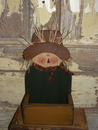 Primitive Wood Scarecrow Box / Candy Box