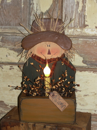 Primitive Wood Fall Scarecrow Box with Light