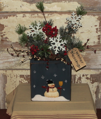Snowman and Snowflake Box Arrangement with Lights