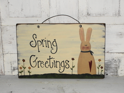 Spring Greetings with Bunny and Flowers Primitive Wood Sign