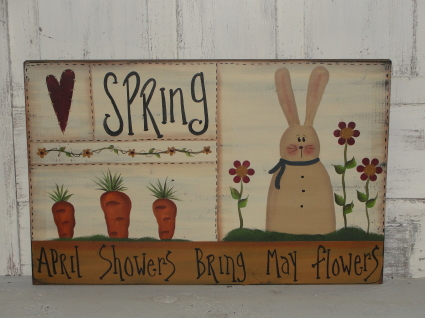 Primitive Spring Sampler Board Wood Sign - April Showers Bring May Flowers