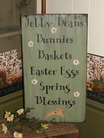 Jelly Beans-Bunnies-Baskets-Easter Eggs-Spring Blessings Easter Primitive Wood Typography Sign