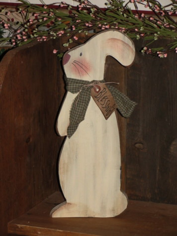 Primitive Spring Standing Wood Bunny