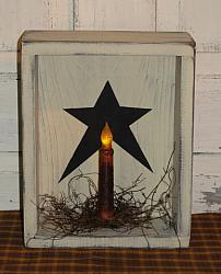 Star Box Light With Primitive Vine Accents / Light style optional