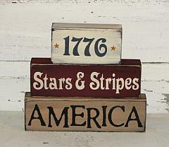 1776 Stars and Stripes America Primitive Wood Stacking Blocks