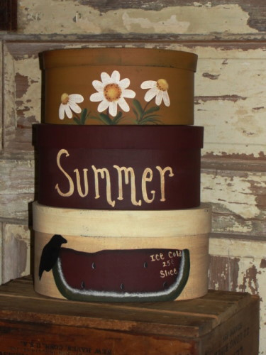 Primitive Summer Daisy and Watermelon Nesting Boxes