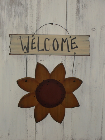 Hanging Sunflower with Sign