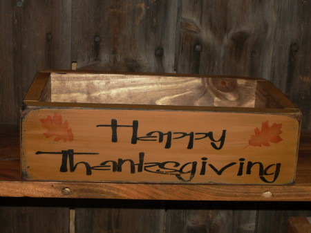 Happy Thanksgiving Primitive Wood Box