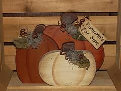 Primitive Fall Pumpkin Trio With Grungy Leaves and Tag
