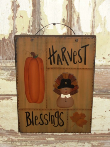 Harvest Blessing Turkey Sampler Wood Plaque