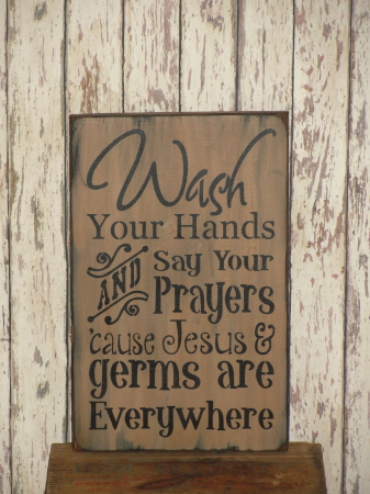 Wash Your Hands / Primitive Typography Wood Sign