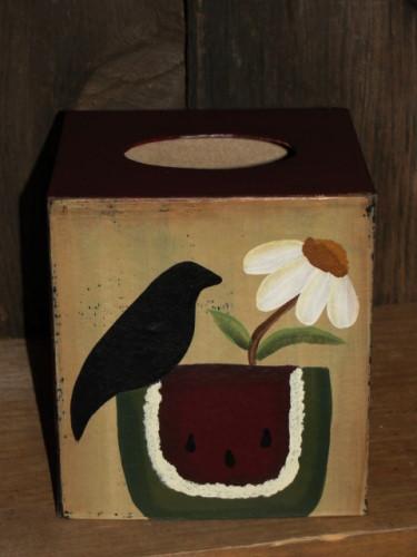 Watermelon Crow and Daisy Tissue Box