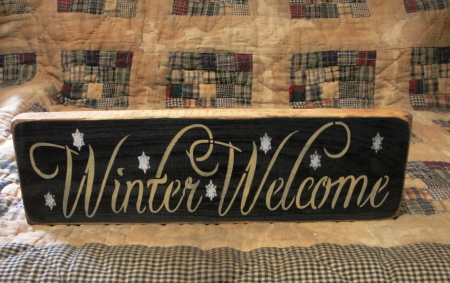 Winter Welcome Primititve Wood Sign
